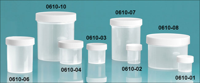 Plastic Jars, Natural Polypropylene Jars w/ White Unlined Screw Caps