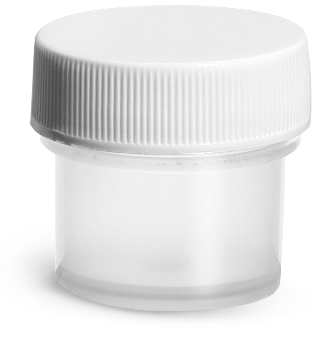 1/4 oz Natural Polypropylene Jars w/ White Unlined Screw Caps