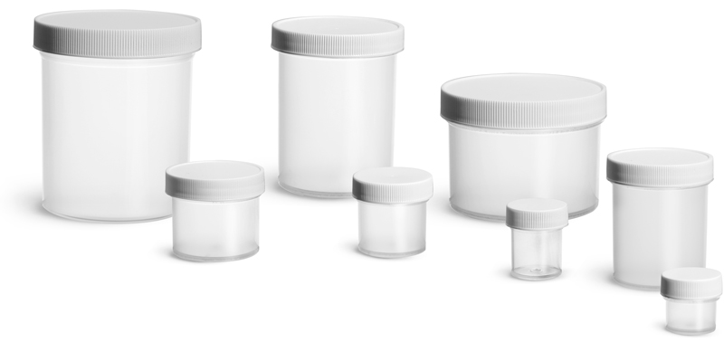 Polypropylene Plastic Jars, Natural Straight Sided Jars w/ White Unlined Screw Caps