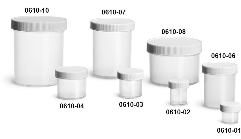 Plastic Jars, Natural Polypropylene Jars w/ White Unlined Screw Caps