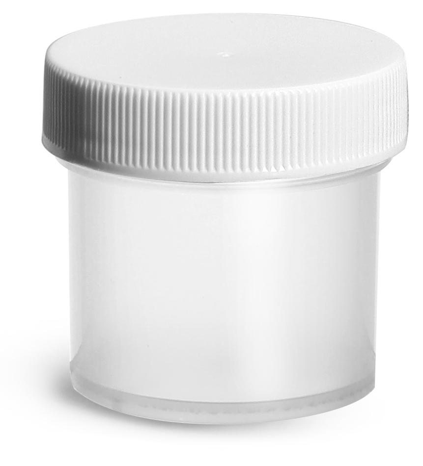 1 oz Natural Polypropylene Jars w/ White Unlined Screw Caps