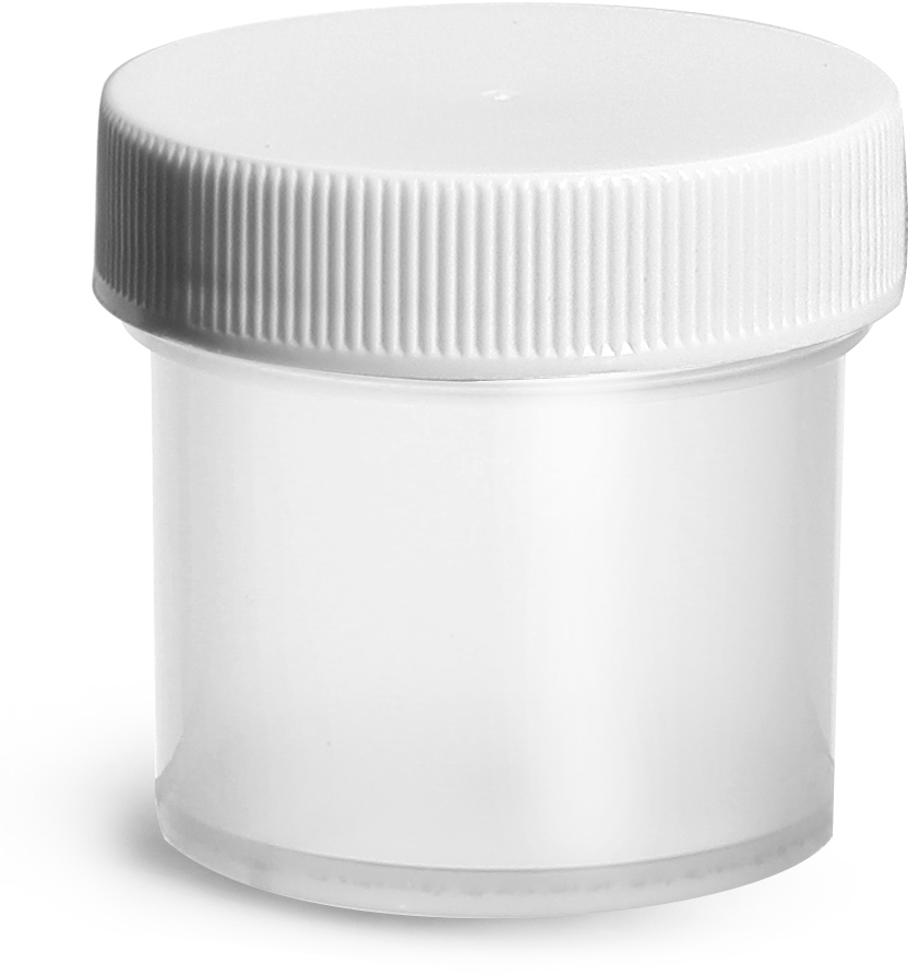 Natural Polypropylene Jars w/ White Unlined Screw Caps