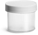 2 oz2 oz Natural Polypropylene Jars w/ White Unlined Screw Caps
