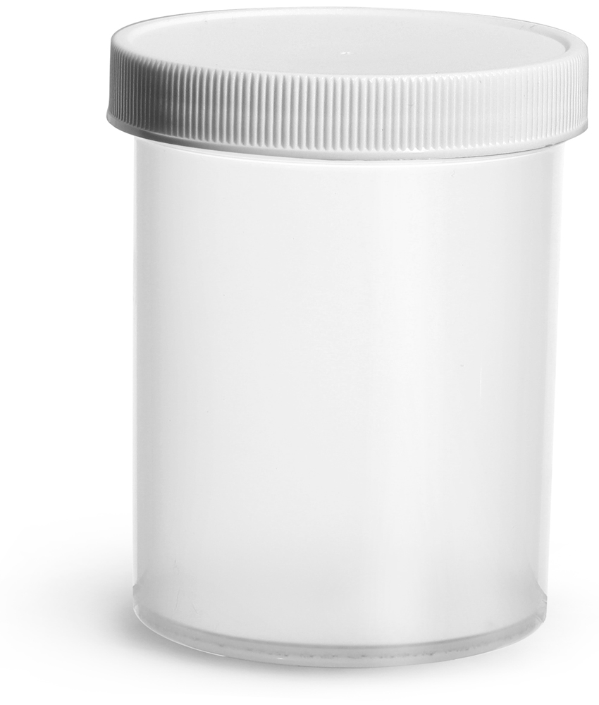 8 oz Natural Polypropylene Jars w/ White Unlined Screw Caps