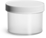8 oz 8 oz Natural Polypropylene Jars w/ White Unlined Screw Caps
