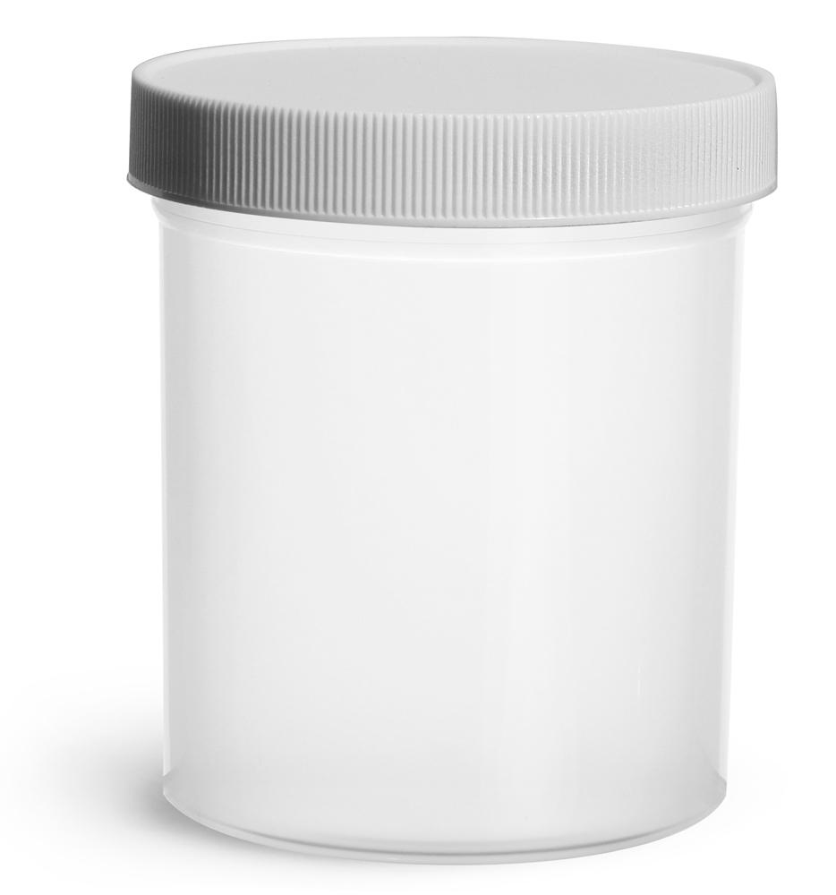 16 oz Natural Polypropylene Jars w/ White Unlined Screw Caps