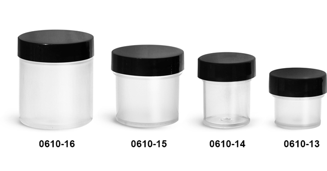 Plastic Jars, Natural Polypropylene Jars w/ Smooth Black PE Lined Caps