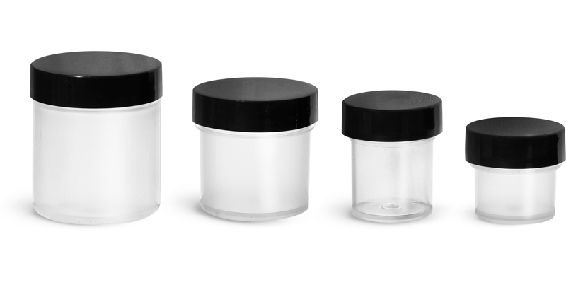Polypropylene Plastic Jars, Natural Jars w/ Smooth Black PE Lined Caps