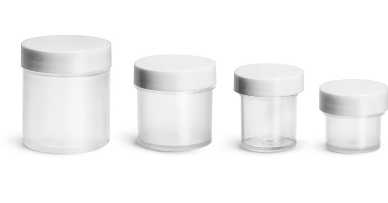 Polypropylene Plastic Jars, Natural Jars w/ Smooth White PE Lined Caps