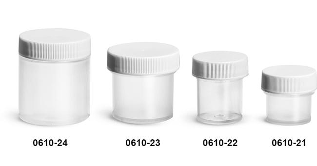 Plastic Jars, Natural Polypropylene Jars w/ Ribbed White PE Lined Caps