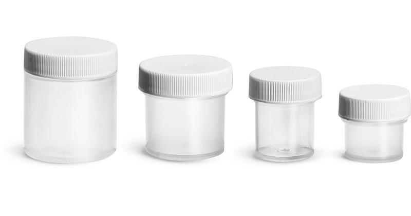 Polypropylene Plastic Jars, Natural Jars w/ Ribbed White PE Lined Caps