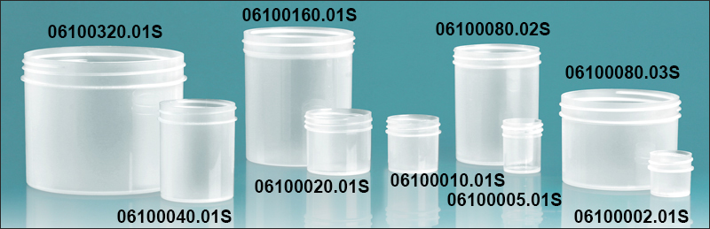 Plastic Jars, Natural Polypropylene Jars (Bulk), Caps Not Included