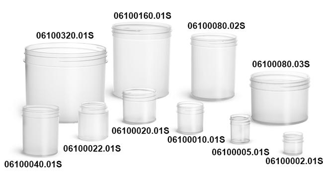 Plastic Jars, Natural Polypropylene Jars (Bulk), Caps Not Included