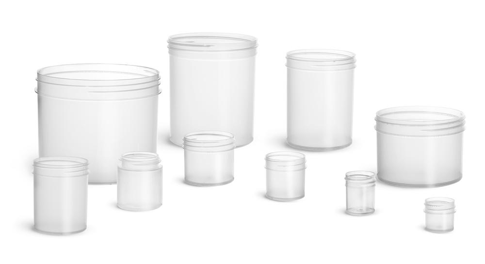 Natural Plastic Jars, Polypropylene Jars (Bulk), Caps Not Included