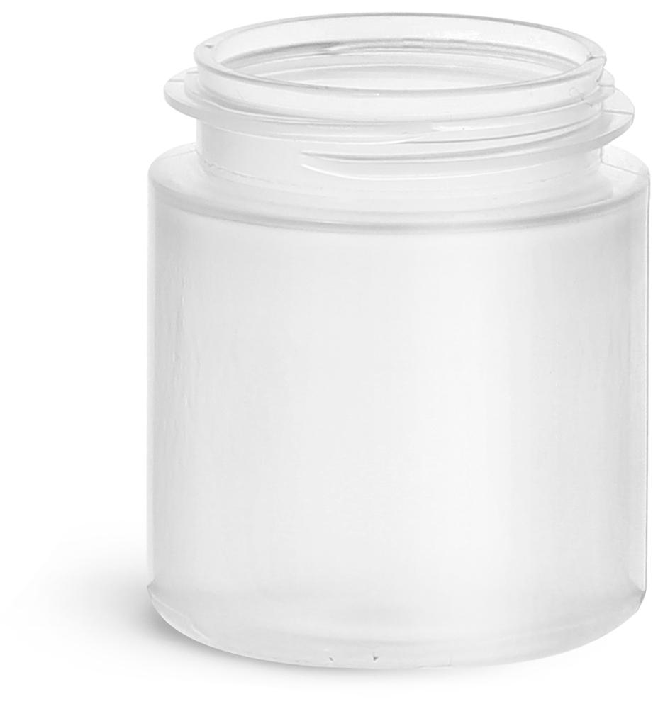 2.25 oz Plastic Jars, Natural Polypropylene Jars (Bulk), Caps Not Included