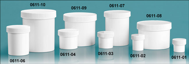 Plastic Jars, White Polypropylene Jars w/ Unlined Screw Caps