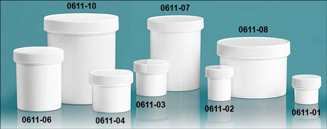 Plastic Jars, White Polypropylene Jars w/ Unlined Screw Caps