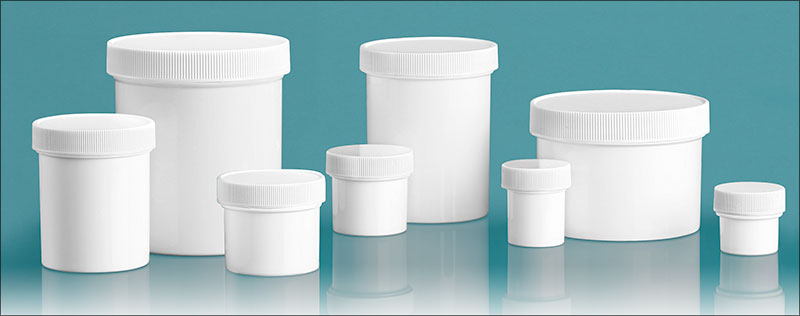 Polypropylene Plastic Jars, White Straight Sided Jars w/ Unlined Screw Caps