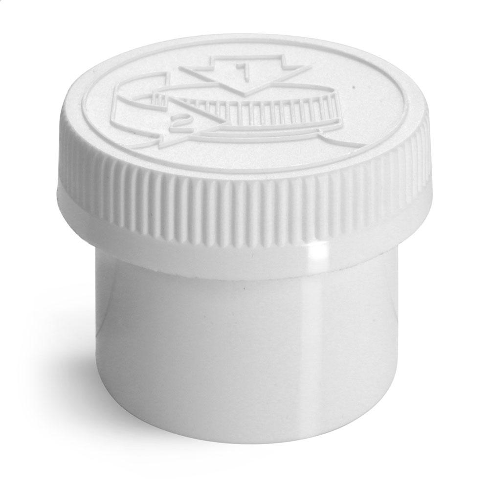 2 oz Plastic Jars, White Polypro Jars w/ White Child Resistant Caps