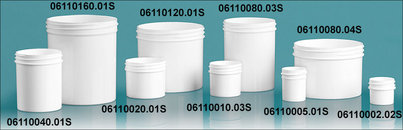 Plastic Jars, White Polypropylene Jars  (Bulk) Caps Not Included