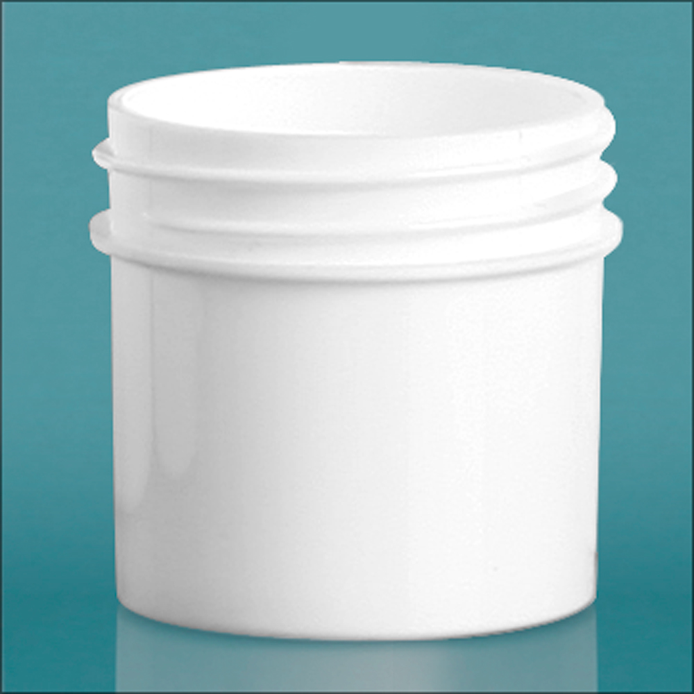 1 oz White Polypropylene Jars  (Bulk), Caps Not Included