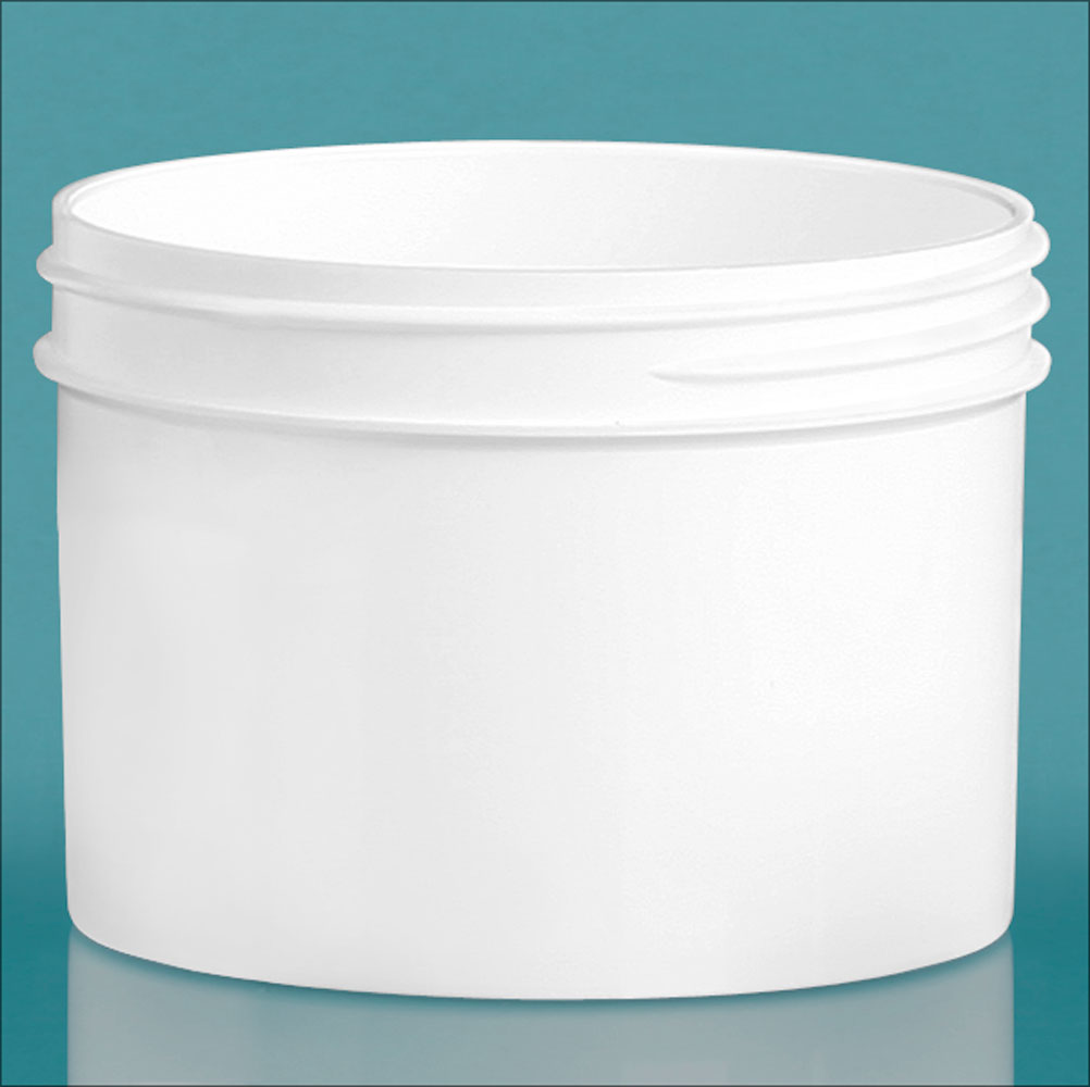 8 oz White Polypropylene Jars  (Bulk), Caps Not Included