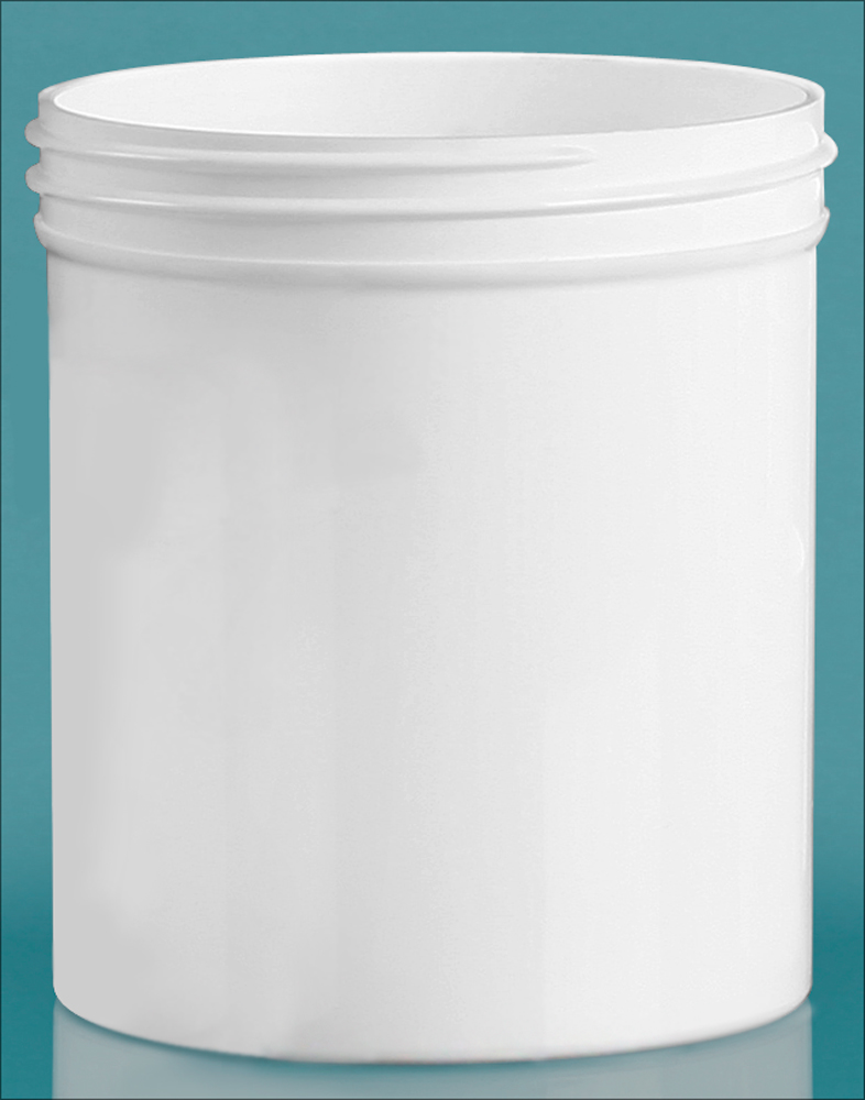 16 oz White Polypropylene Jars  (Bulk), Caps Not Included