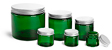 Green PET Straight Sided Jars w/ F217 Lined Aluminum Caps