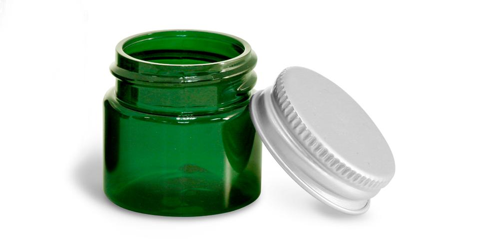 1/2 oz Green PET Straight Sided Jars w/ F217 Lined Aluminum Caps