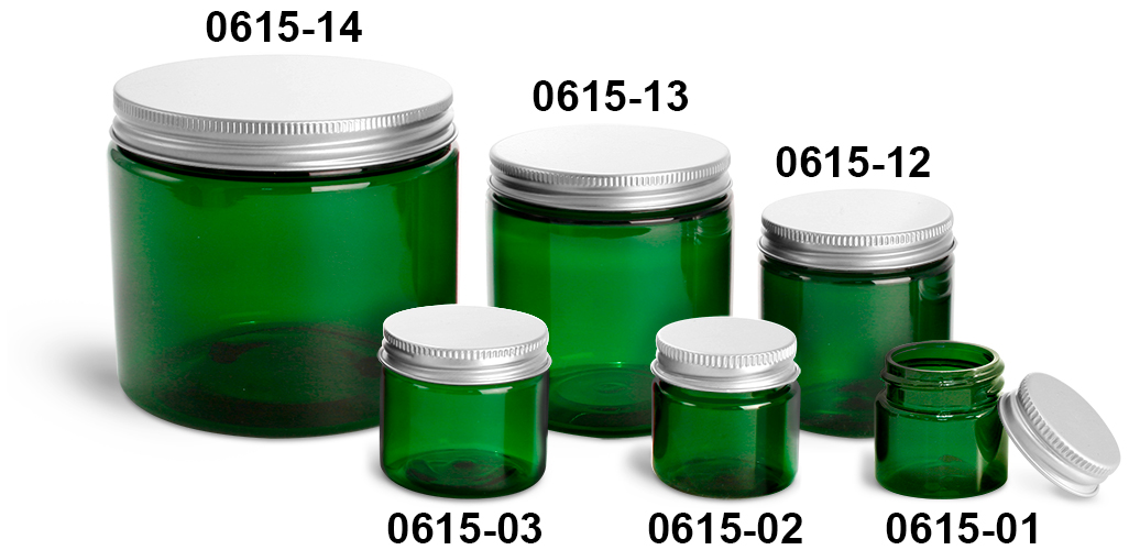 Plastic Jars, Green PET Straight Sided Jars w/ Lined Aluminum Caps