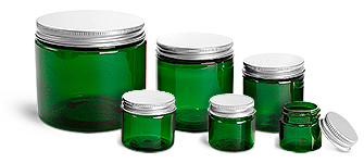 PET Plastic Jars, Green Straight Sided Jars w/ F217 Lined Aluminum Caps