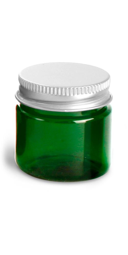 1 oz Green PET Straight Sided Jars w/ F217 Lined Aluminum Caps