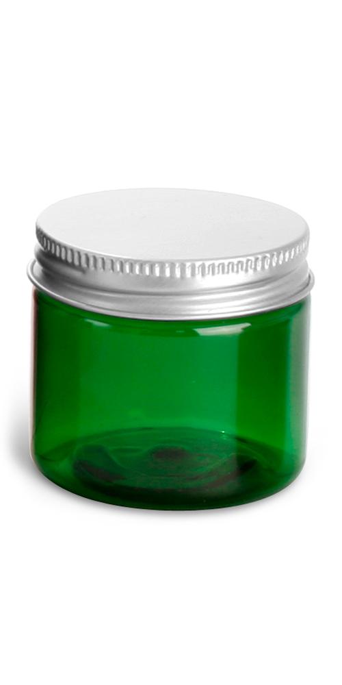 2 oz Green PET Straight Sided Jars w/ F217 Lined Aluminum Caps