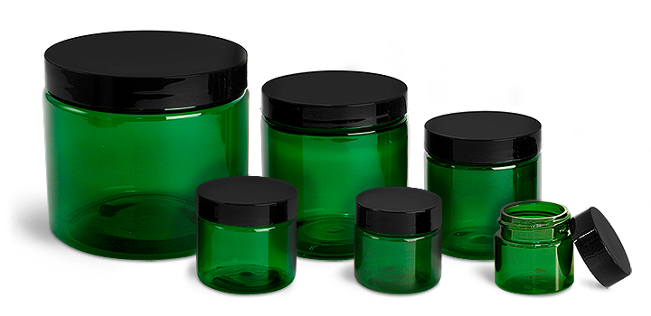 Plastic Jars, Green PET Straight Sided Jars w/ Black Smooth Plastic Lined Caps