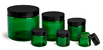 Green PET Straight Sided Jars w/ Black Smooth Plastic Lined Caps