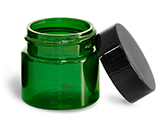 1/2 oz 1/2 oz Green PET Straight Sided Jars w/ Black Smooth Plastic Lined Caps
