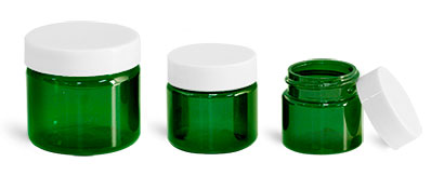 PET Plastic Jars, Green Straight Sided Jars w/ White Smooth Plastic Lined Caps