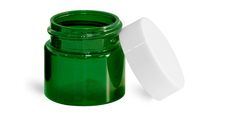 1/2 oz Green PET Straight Sided Jars w/ White Smooth Plastic Lined Caps