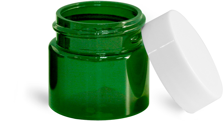 Green PET Straight Sided Jars w/ White Smooth Plastic Lined Caps