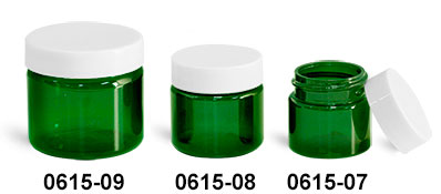 Plastic Jars, Green PET Straight Sided Jars w/ White Smooth Plastic Lined Caps