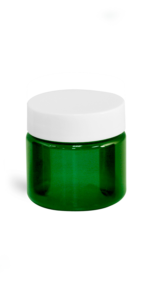1 oz Green PET Straight Sided Jars w/ White Smooth Plastic Lined Caps
