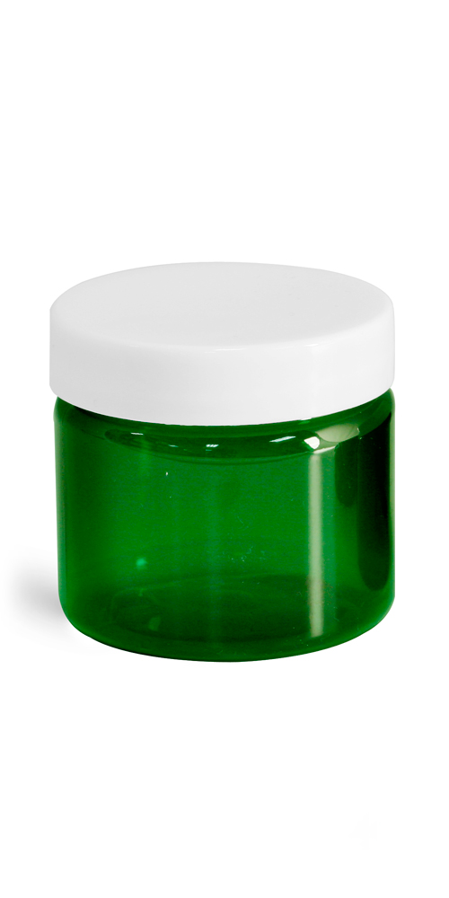 2 oz Green PET Straight Sided Jars w/ White Smooth Plastic Lined Caps