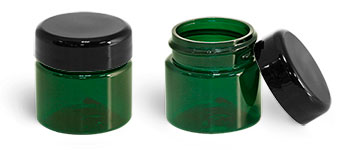 PET Plastic Jars, Green Straight Sided Jars w/ Lined Black Dome Caps