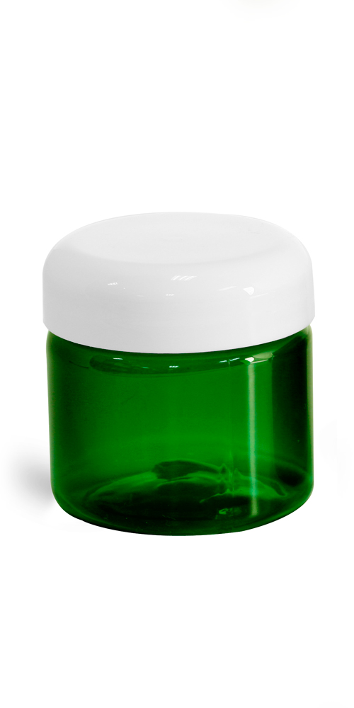 2 oz Green PET Jars w/ White Lined Dome Cap