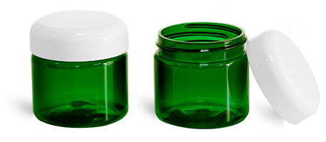 Plastic Jars, Green PET Straight Sided Jars w/ Lined White Dome Caps