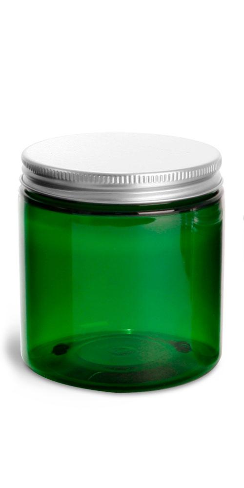 8 oz Green PET Jars w/ F217 Lined Aluminum Caps