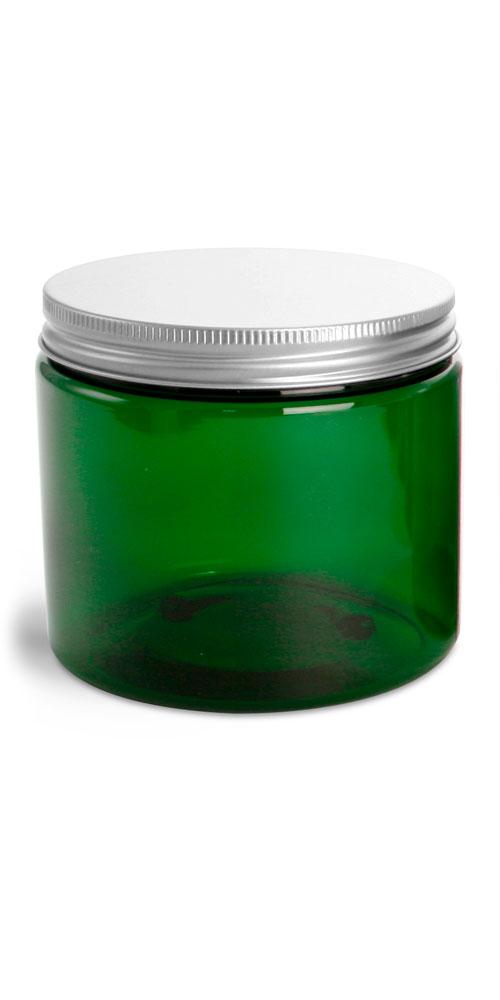 16 oz Green PET Jars w/ F217 Lined Aluminum Caps