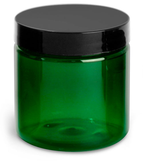 4 oz Green PET Jars w/ Black Smooth Lined Caps