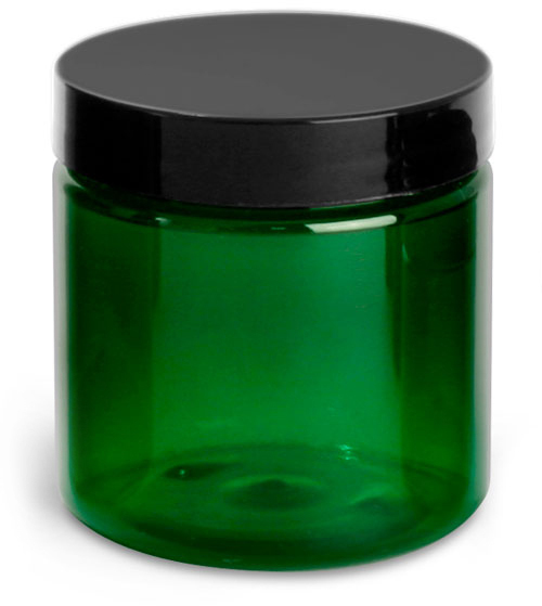 Green PET Jars w/ Black Smooth Lined Caps
