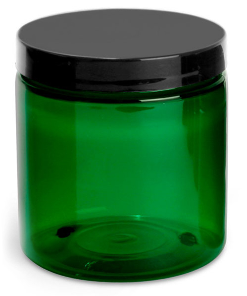 8 oz Green PET Jars w/ Black Smooth Lined Caps
